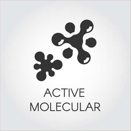 Abstract grafisch pictogram van molecule chemische band. Actief samenstellingsconcept. Vector embleem in vlakke stijl. Zwarte etiket