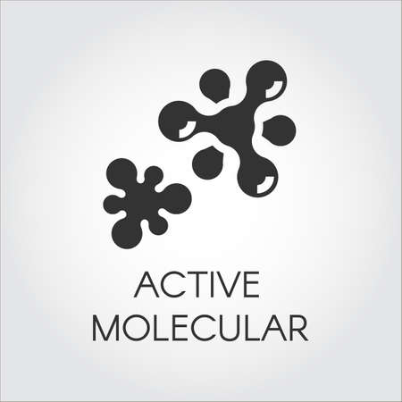 Abstract graphic icon of molecule chemical bond. Active compound concept. Vector emblem in flat style. Black label