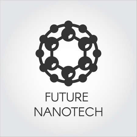 Black circular logo symbolizing nanotech chemical compound. Abstract icon in flat design of future technology theme Çizim