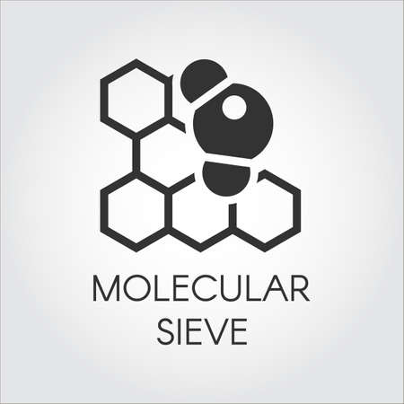 Black flat icon of molecular sieve concept. Series labels of chemical formulas and compounds. Vector illustration