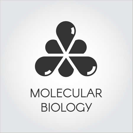 medical drawing: Black icon in flat style of molecular connection. Logo for various design needs - medicine, science, biology, chemistry Stock Photo