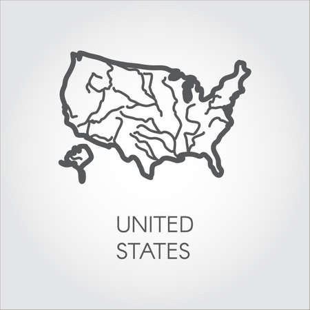 illustration united states of america outline icon usa border map in linear style label of country for cartography geography education projects and
