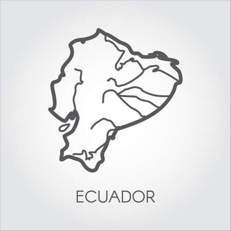 Vector map silhouette of Ecuador country. Line simplicity icon with signature for cartography, geography, education projects, sites, articles and other design needs Illustration