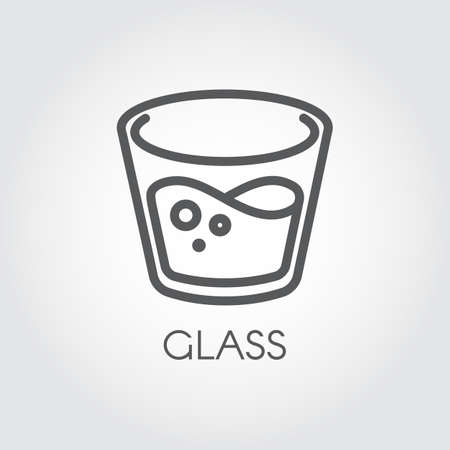 glass reflection: Icon in linear style with a glass of water or other abstract drink. Illustration