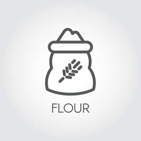 formulations: Line icon of bag with rye image full of flour. Ingredient for various recipes and product formulations. Vector symbol of cooking, harvest, culinary