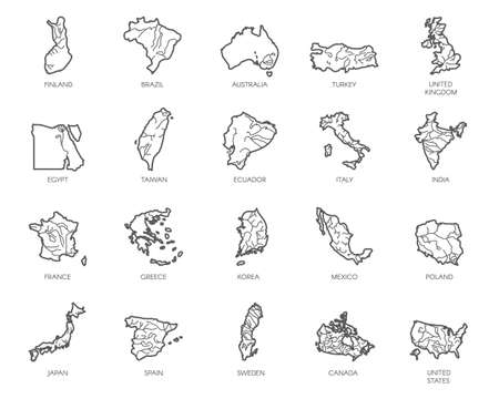 Set of 20 maps in linear style of different countries - England, America, Asia, Europe. Outline icon for atlas, cartography, education projects, article, travel sites and other design needs. Vector