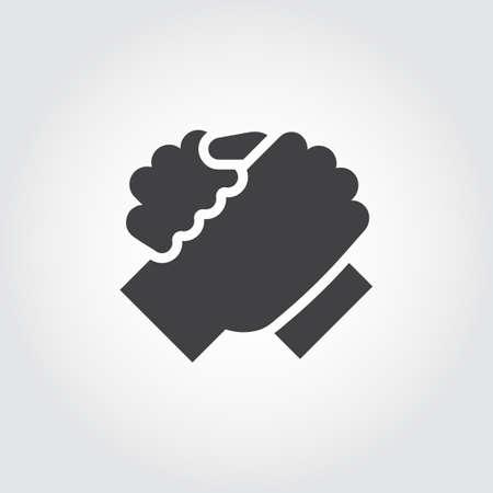 평면 디자인 스타일에서 두 사람이 아이콘의 악수. 형제 지원, 회의, armwrestling, 비즈니스 팀웍 개념 이미지에 대 한 간단한 검은 로고. 윤곽 팔 실루엣.