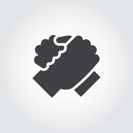 Handshake of two people icon in flat design style. Simple black logo for brotherly support, meeting, armwrestling, business teamwork concept image. Contour arm silhouette. Vector illustration Stok Fotoğraf