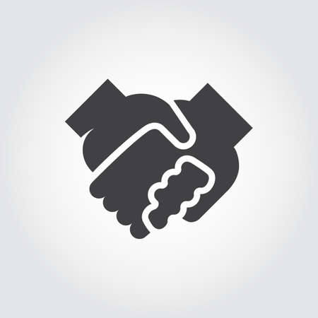 uniting: Handshake black flat icon. Symbol of relationship, friendship, partnership, support. Graphic logo with two human hand in hand. Contour arm silhouette. Vector illustration