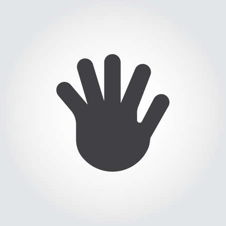Human open palm, five fingers flat icon. Simple black logo of greeting gesture. Vector web pictogram or button for websites, mobile apps, games and other design projects