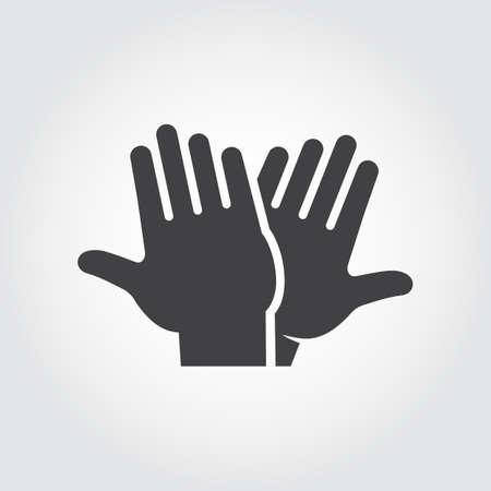 Icono de cinco altos. Pictograma plano negro de dos manos aplaudiendo - saludo, bienvenida, celebrando el símbolo de personas de interacción exitosa. Vector web signo o botón. Ilustración sobre fondo gris