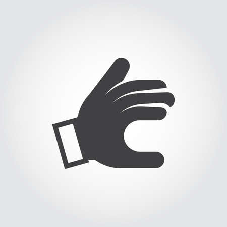palm reading: Sign language hand icon. Showing symbol. Black pictogram in flat style. Vector illustration for your different projects Illustration