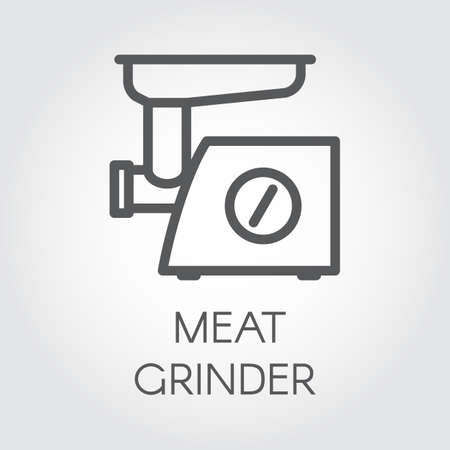 Meat grinder icon drawing in thin line style.