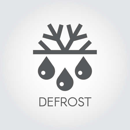 Snowflake and drop icon. Symbol of defrosting, air conditioning and change of seasons concept. Çizim