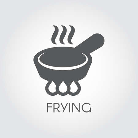 Icon of frying pan with steam on lit burner. Black graphic culinary, roast of fry sign. Flat pictogram for different gastronomic projects and button for web and mobile app interfaces. Vector Illustration