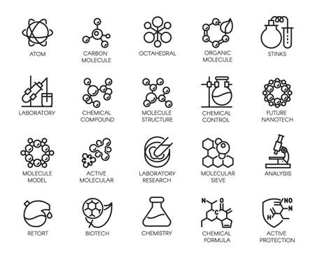 Molecular chemistry, physics and medicine concept icons in linear style. Big set of 20 outline pictograms isolated on a white background. Scientific symbols. Vector contour labels Ilustração