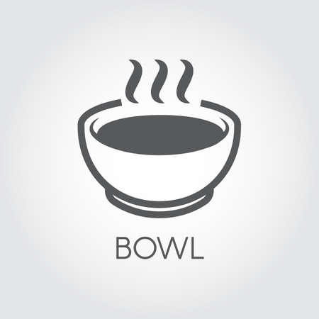 Bowl with hot food or beverage simple icon. Graphic label for culinary sites, thematic books, mobile apps and other projects. Vector image in flat design