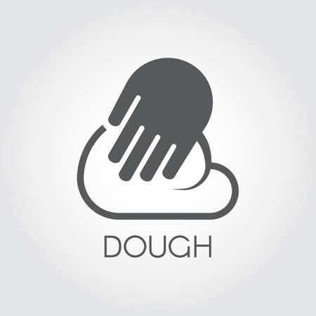 Grafische Ikone Hände kneten Teig. Piktogramm im flachen Design Zubereitungszubereitung für Pasta, Pizza, Brot, gebackene und andere Gerichte. Cook-Vektor-Label
