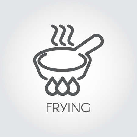 Line icon of frying pan with steam on hob. Graphic culinary, roast outline sign. Pictogram for different gastronomic projects, button or sticker for print, web and mobile app interfaces. Vector Illustration
