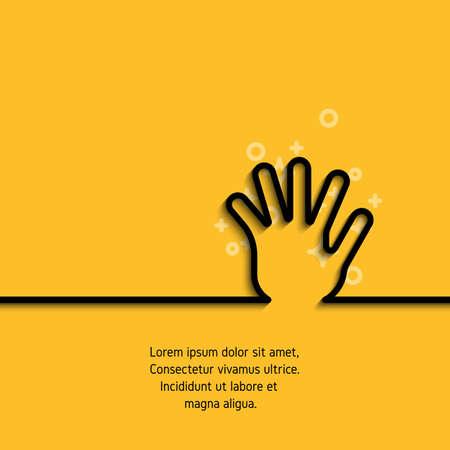 Pictogram van groet hand in lijn kunststijl. Overzichtssymbool van gebaarhand, palm en vijf vingers in omtrek. Lijn mono lineair pictogram. Vectorbanner op gele achtergrond met steekproeftekst Stock Illustratie