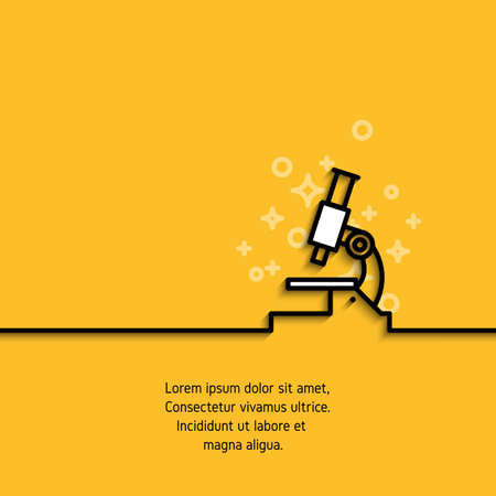 Mikroskop-Symbol im Liniendesign. Analyse, Wissenschaft, Medizin, pharmazeutisches Konzept umreißen Logo. Anschlagpiktogramm auf gelbem Hintergrund mit Beispieltext. Vektor-Banner