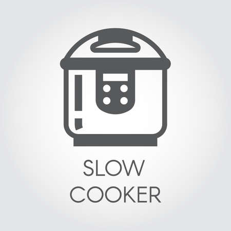 slow food: Slow cooker flat icon. Electronic crock pot or steamer pictograph. Household appliance label. Vector
