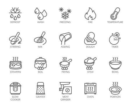 20 lijnpictogrammen voor het koken thema. Grote vectorreeks overzichtssymbolen die op witte achtergrond wordt geïsoleerd. Labels voor keukenaccessoires. Bewerkbare lijn. 48x48 Pixel Perfect