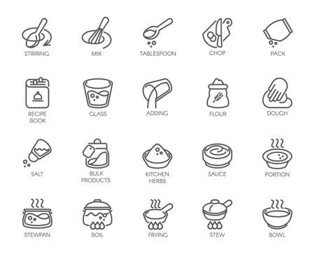 Line isolated icons on kitchen theme. Outline labels for cooking projects, home appliances, products, stickers, printing in books, buttons on sites and apps. itable Stroke. 48x48 Pixel Perfect