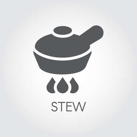 Casserole sur le brûleur, icône graphique de concept alimentaire de ragoût au design plat. Symbole de cuisine pour les sites culinaires, livres, applications mobiles et autres projets. Illustration vectorielle