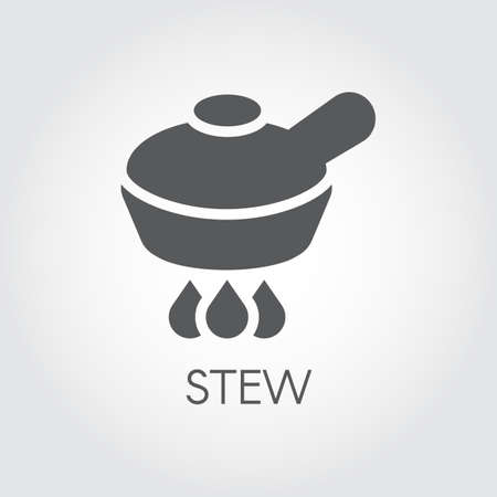 Pan on burner, stew food concept graphic icon in flat design. Kitchenware symbol for culinary sites, books, mobile apps and other projects. Vector illustration