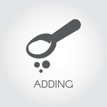 Teaspoon or tablespoon with abstract ingredient. Adding product for preparing food. Graphic concept image. Icon drawing in flat style. Vector illustration on a gray background