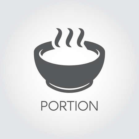 Bord met portie van warm eten. Soep, chowder, bouillon en andere gerechten concept. Flat pictogram voor ontbijt, lunch of diner