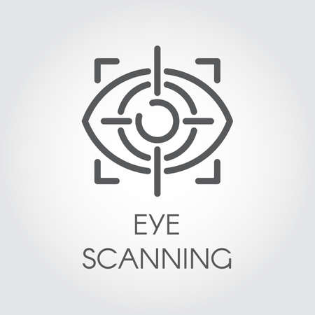 Eye scanning line icon. Biometric recognition system. Retina sensor technology. Outline icon for websites, mobile apps and other design needs. Vector illustration