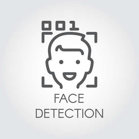 Gezichtsherkenning lijn pictogram. Biometrische gezichtsherkenning. Herenhoofd, beeldscannen en codecontrole. Technologie van menselijke identificatie in telefoon, smartphone en andere apparaten. Beveiligingsinnovatiesysteem Stock Illustratie