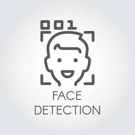 Face detection line icon. Facial biometric recognition. Men head, frame scanning and code control. Technology of human identification in phone, smartphone and other devices. Security innovation system
