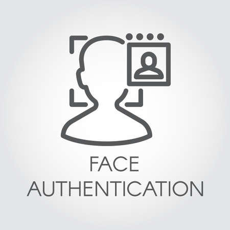 Face authentication outline icon. Facial biometric identity. Silhouette of male head in recognition camera. Technology of human verification in modern devices. Security innovation system. Vector