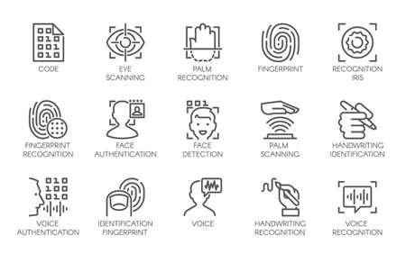 Linha de ícones de sinal de verificação biométrica de identidade. 15 rótulo web de tecnologia de autenticação em telefones celulares, smartphones e outros dispositivos. Logotipo de vetor ou botão isolado no fundo branco Foto de archivo - 90749477