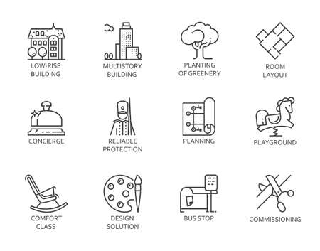 Graphic line icons of real estate, design, high service and security. Outline symbols of city infrastructure. 12 linear signs isolated on white. Vector contour logo immovable property concept