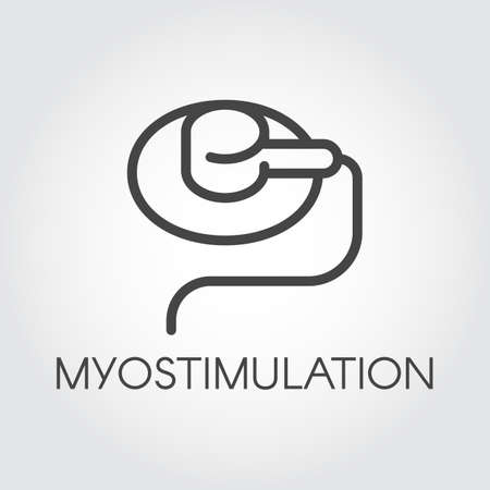 Myostimulation line icon. Methods of physiotherapy in medicine and cosmetology. Treatment and prevention of diseases outline sign. Contour label for websites and mobile apps relevant topics. Vector