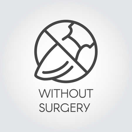 Stop sign surgeon. Icon drawing in thin linear style. Symbol abuse of plastic surgery. Contour graphic label for websites and mobile apps relevant topics. Vector illustration Illusztráció