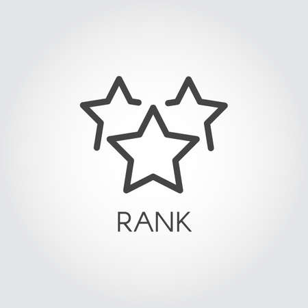 Rank star linear icon. Rating or achievements sign. Graphic web label in line style for mobile apps, websites, games, social media. Interface win status symbol. Illustration