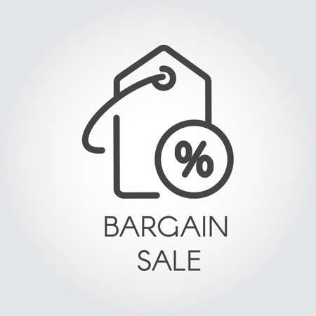 Bargain sale icon simple label template with discount for online or offline stores and mobile applications. Advertising coupon for seasonal price-tag, black Friday and other design needs vector icon.