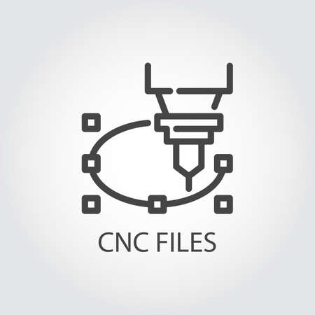 CNC-Datei-Symbol im Liniendesign. Computergesteuerte Maschine zum präzisen Schneiden, Gravieren und anderen Arbeiten an harten Materialien. Grafisches Konturbild. Vektorabbildung der Laser-Ausschnittserie