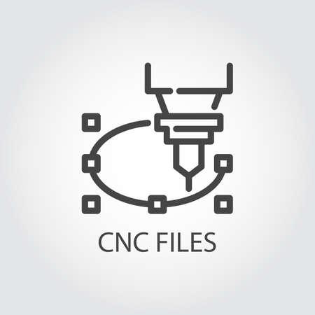 Icono de archivos CNC en diseño de línea. Máquina con control numérico por computadora para corte preciso, grabado y otros trabajos en materiales duros. Imagen gráfica de contorno. Ilustración de vector de serie de corte por láser