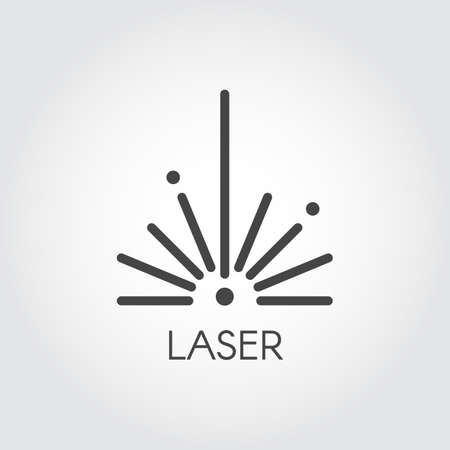 Laser ray half circle icon drawing in outline design. Graphic thin line stroke pictograph. Technology concept contour web sign. Vector illustration of laser cutting series Vectores