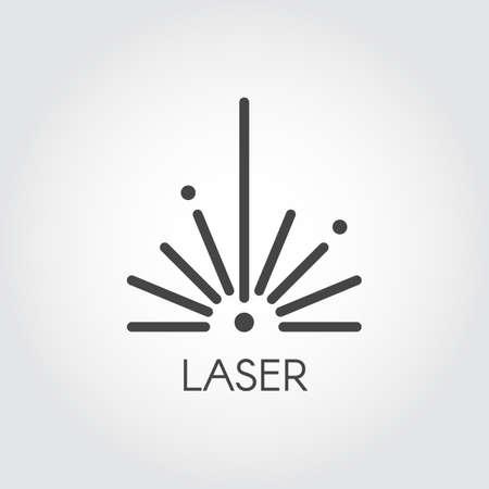 Icona del semicerchio del raggio laser che assorbe progettazione del profilo. Pittogramma grafico tratto sottile. Segno di web di contorno di concetto di tecnologia. Illustrazione vettoriale di serie di taglio laser Vettoriali