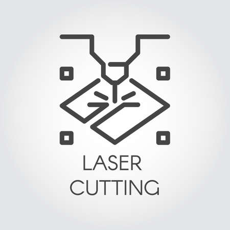 Laser cutting machine line icon. Special modern equipment for corving, engraving and other similar work on surface hard materials. Graphic web pictograph. Technology contour sign. Vector illustration 일러스트