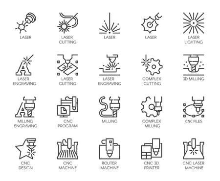 Satz von 20 Linie Ikonen in der Reihe des Laserschneidens. Computergesteuerter Drucker, 3D-Fräsmaschine und andere thematische Symbole. Anschlagmonokonturnpiktogramme lokalisiert. Vektor Umriss Etiketten