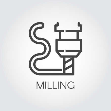 Milling machine outline icon. Modern device for fabrication and prototype production. Stock Illustratie