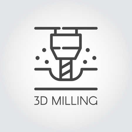 3D Fräsmaschine Liniensymbol. Modernes Gerät zur Fertigung und Prototypenfertigung. Innovation technische Ausstattung Kontur-Symbol. Industrielles Thema. Vektor-illustration
